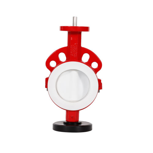 Food Grade White PTFE PFA Lined Coated Sanitary Wafer Control Butterfly Valve for Strong Basicity Chemical Industry