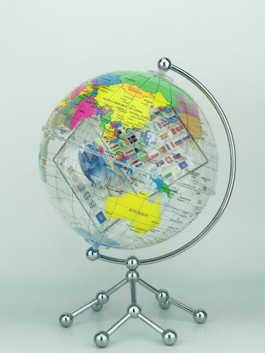 Transparent Globe with World Flags Cube